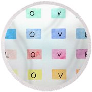 Round Beach Towel featuring the painting Love by Edwin Alverio