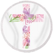 Love Floral Cross- Art By Linda Woods Round Beach Towel