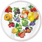 Love Fruits And Berries Round Beach Towel