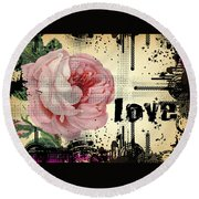 Round Beach Towel featuring the digital art Love Grunge Rose by Robert G Kernodle
