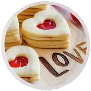 Round Beach Towel featuring the photograph Love Heart Cookies by Teri Virbickis