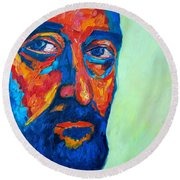 Round Beach Towel featuring the painting Love Him So Much by Ana Maria Edulescu