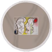 Love In Between Round Beach Towel