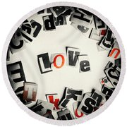 Love In Letters Round Beach Towel