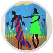 Love In The Reeds Round Beach Towel