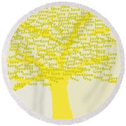 Round Beach Towel featuring the painting Love Inspiration Tree by Go Van Kampen