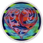 Round Beach Towel featuring the painting Love Is A Planetary Force by Denise Weaver Ross