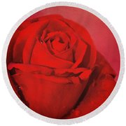 Round Beach Towel featuring the photograph Love Is A Red Rose With Raindrops by Diane Schuster