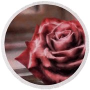 Love Is A Rose Round Beach Towel
