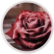 Round Beach Towel featuring the photograph Love Is A Rose by Jim Hill