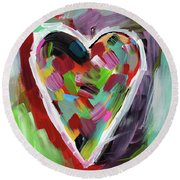 Love Is Colorful 3- Art By Linda Woods Round Beach Towel