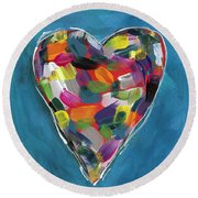 Love Is Colorful In Blue- Art By Linda Woods Round Beach Towel