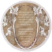 Round Beach Towel featuring the digital art Love Is Patient by Angelina Vick