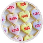 Round Beach Towel featuring the photograph Love Kiss Hug Heart Cookies by Teri Virbickis