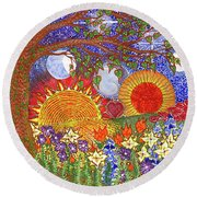 Round Beach Towel featuring the painting  Because Love Lasts For Eternity #2 by Kym Nicolas