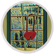 Round Beach Towel featuring the mixed media Love Locked On The Hudson by Bruce Carpenter