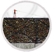 Love Locks Bridge Ile De Cite Paris Round Beach Towel