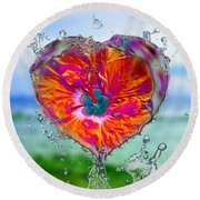 Love Makes A Splash Round Beach Towel