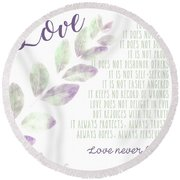 Love Never Fails Round Beach Towel