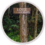 Love On A Tree Round Beach Towel