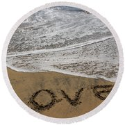 Love On The Beach Round Beach Towel