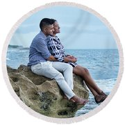 Love On The Rocks Round Beach Towel by John Black