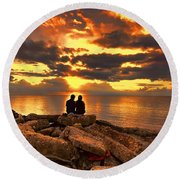 Love On The Rocks Round Beach Towel