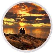 Love On The Rocks Round Beach Towel