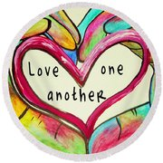 Love One Another John 13 34 Round Beach Towel
