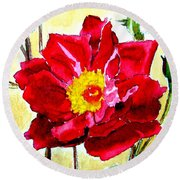 Round Beach Towel featuring the painting Love Rose by Ana Maria Edulescu