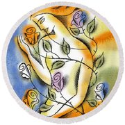 Round Beach Towel featuring the painting Love, Roses And Thorns by Leon Zernitsky