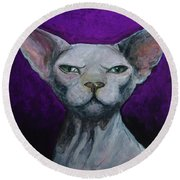 Love Sphynx Cat Round Beach Towel