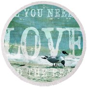 Round Beach Towel featuring the photograph Love The Beach by Jan Amiss Photography