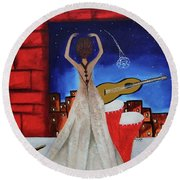 Love To Dance 002 By Saribelle Rodriguez Round Beach Towel