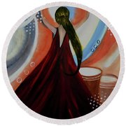 Love To Dance Abstract Acrylic Painting By Saribelleinspirationalart Round Beach Towel