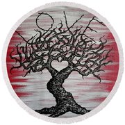 Round Beach Towel featuring the drawing Love Tree Art by Aaron Bombalicki
