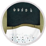 Round Beach Towel featuring the painting Love U by Fei A