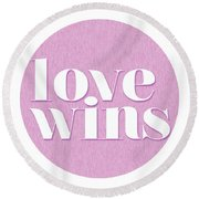 Love Wins Round Beach Towel by Studio Grafiikka