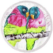 Round Beach Towel featuring the painting Lovebirds by D Renee Wilson