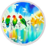 Lovebirds On A Branch Round Beach Towel by Cathy Jacobs