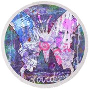 Loved Butterfly Round Beach Towel