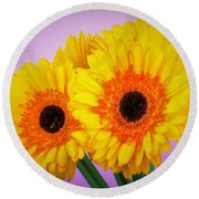 Lovely And Beautiful - Gerbera Daisies Round Beach Towel