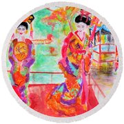 Lovely Asian Ladies Round Beach Towel