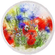 Watercolour Bouquet Round Beach Towel