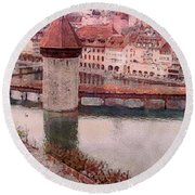Lovely Lake Lucerne Round Beach Towel by Susan Maxwell Schmidt