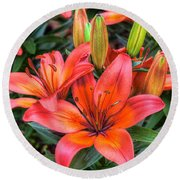 lovely Lilies  Round Beach Towel by Nadia Sanowar