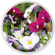 Lovely Pansies  Round Beach Towel by Gabriella Weninger - David