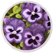 Lovely Purple Pansy Faces Round Beach Towel by Inese Poga