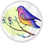Lovely Spring Day Bird And Flowers Round Beach Towel