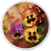 Lovely Spring Pansies Round Beach Towel by Diane Schuster